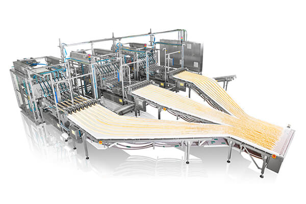 Packaging machine packaging line for stackable chips