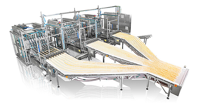 Packaging line for stackable chips